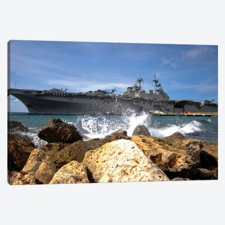 The USS Kearsarge Visiting The Netherlands Antilles For The Humanitarian Service Project Canvas Print #TRK985} by Stocktrek Images Canvas Art Print