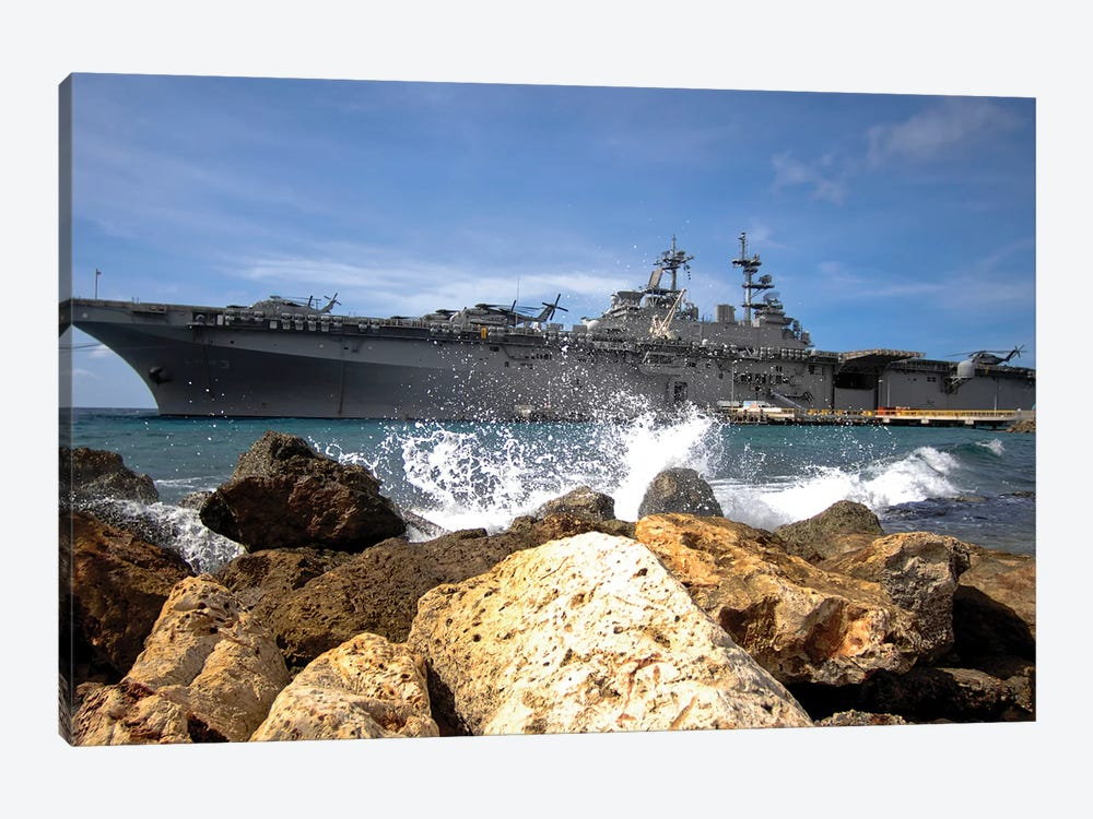 The USS Kearsarge Visiting The Netherlands Antilles For The Humanitarian Service Project by Stocktrek Images 1-piece Canvas Wall Art