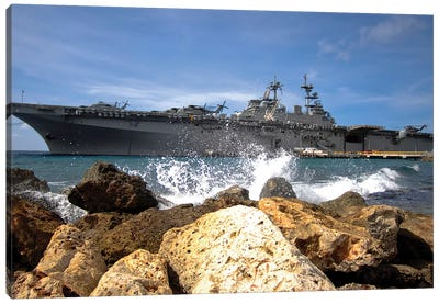 The USS Kearsarge Visiting The Netherlands Antilles For The Humanitarian Service Project Canvas Art Print