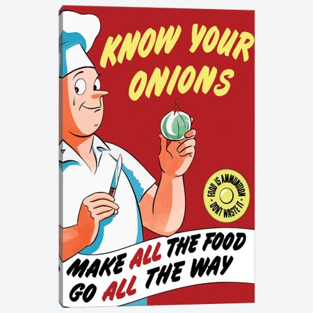 Vintage WWII Poster Of A Chef Holding An Onion With A Tear In His Eye Canvas Print #TRK98} by John Parrot Canvas Print
