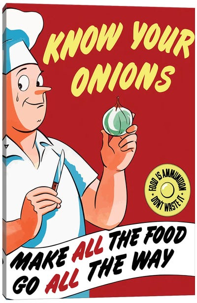 Vintage WWII Poster Of A Chef Holding An Onion With A Tear In His Eye Canvas Art Print