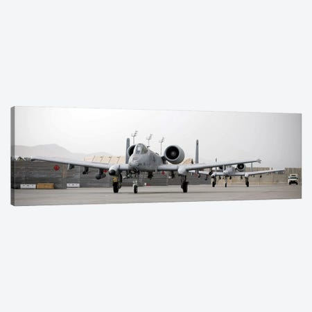 Two A-10 Thunderbolts Taxi Out To The Runway Canvas Print #TRK990} by Stocktrek Images Art Print