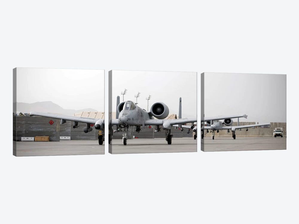 Two A-10 Thunderbolts Taxi Out To The Runway 3-piece Canvas Artwork