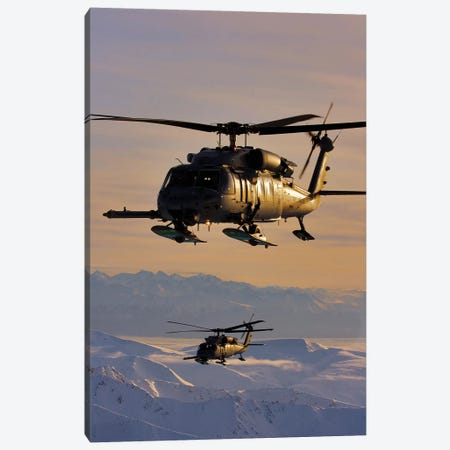 Two Alaska Air National Guard HH-60G Pave Hawks In Flight Over Alaska Canvas Print #TRK992} by Stocktrek Images Canvas Print
