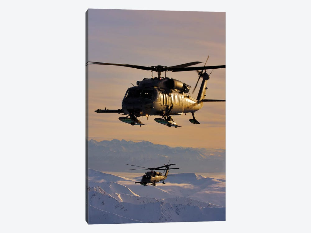 Two Alaska Air National Guard HH-60G Pave Hawks In Flight Over Alaska by Stocktrek Images 1-piece Canvas Artwork
