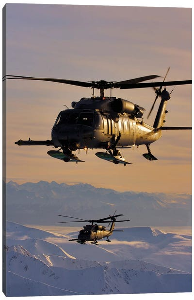 Two Alaska Air National Guard HH-60G Pave Hawks In Flight Over Alaska Canvas Art Print