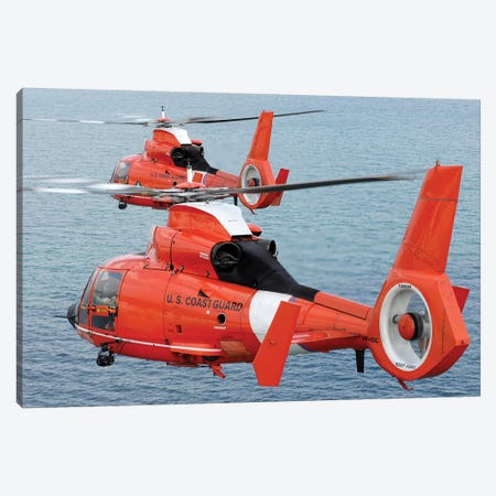 Two Coast Guard HH-65C Dolphin Helicopters Fly In Formation Over The Atlantic Ocean Canvas Print #TRK993} by Stocktrek Images Art Print
