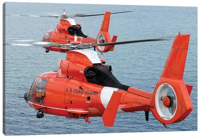 Two Coast Guard HH-65C Dolphin Helicopters Fly In Formation Over The Atlantic Ocean Canvas Art Print