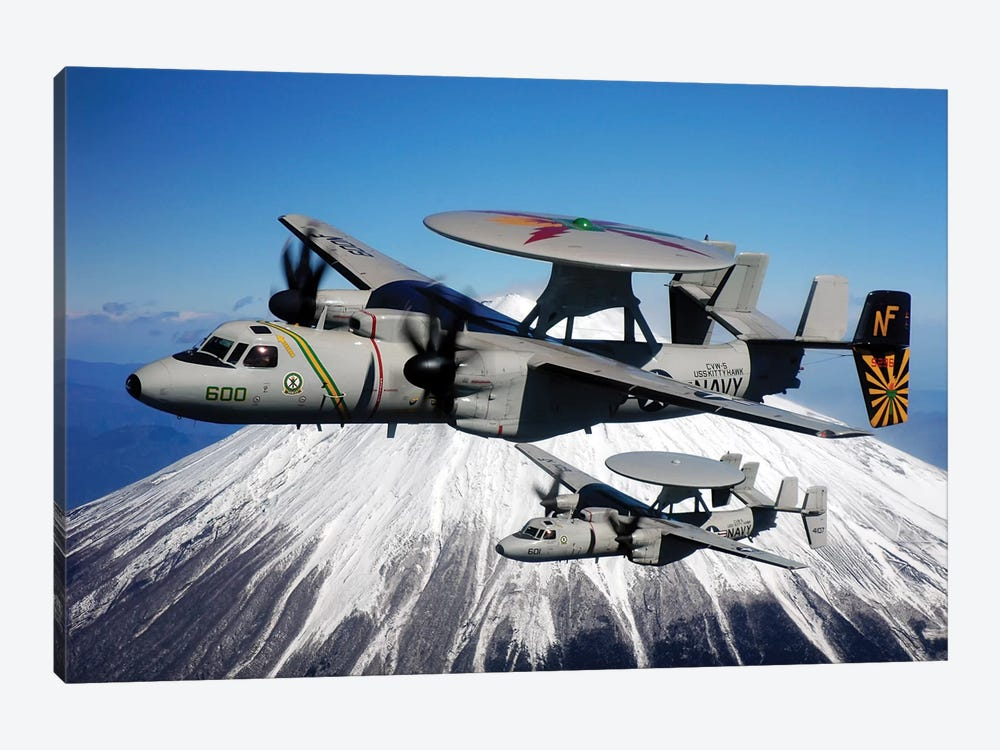 Two E-2C Hawkeyes Conduct A Flyby Of Mount Fuji In Japan by Stocktrek Images 1-piece Canvas Artwork