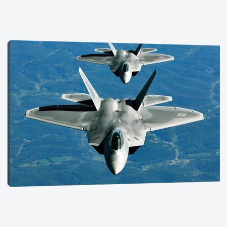 Two F-15s Fly In Formation Behind A KC-10 Extender Canvas Print #TRK996} by Stocktrek Images Canvas Wall Art
