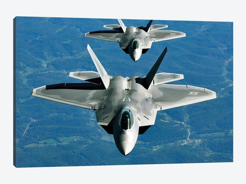 Two F-15s Fly In Formation Behind A KC-10 Extender by Stocktrek Images 1-piece Canvas Artwork