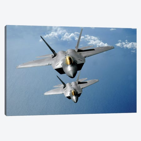 Two F-22 Raptors Fly Over The Pacific Ocean Canvas Print #TRK999} by Stocktrek Images Art Print