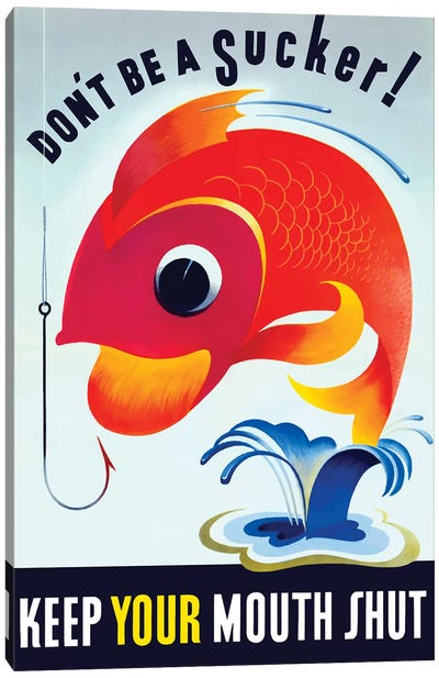 Vintage WWII Poster Of A Colorful Fish Jumping From A Pond Canvas Art Print