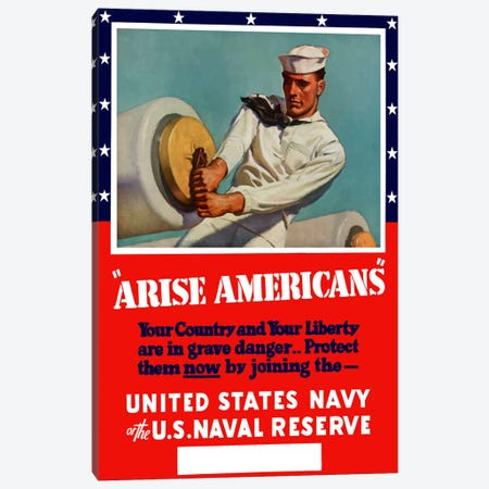 Enlist in The United States Navy Or Naval Reserve Vintage Wartime Poster Canvas Print #TRK9} by John Parrot Canvas Art