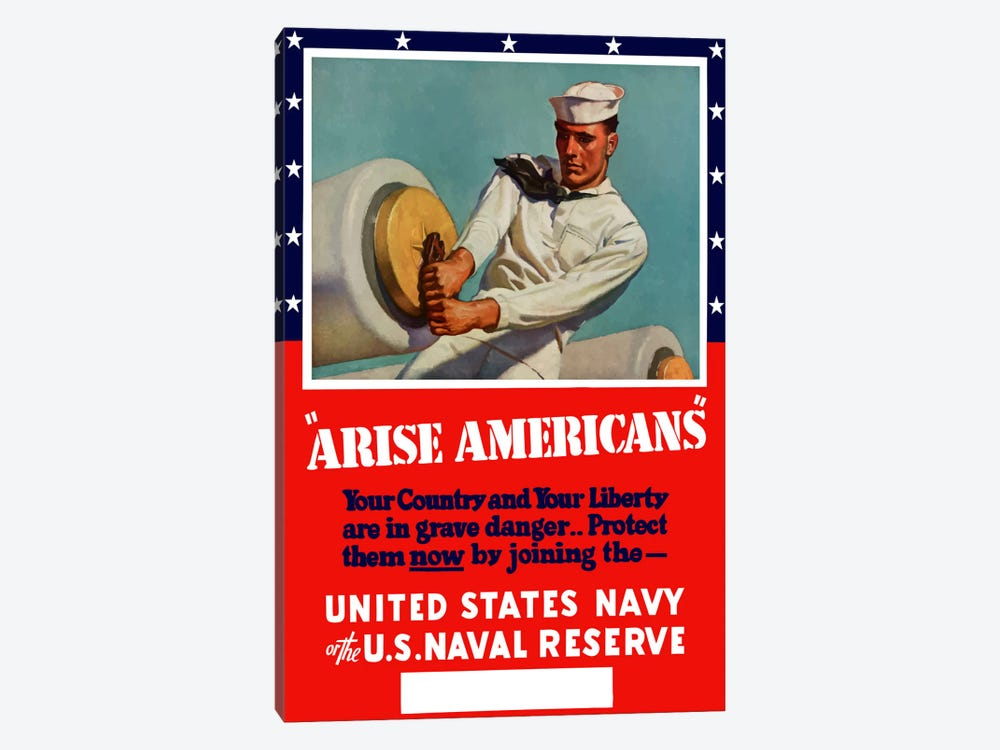 Enlist in The United States Navy Or Naval Reserve Vintage Wartime Poster by John Parrot 1-piece Art Print
