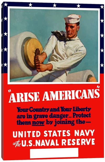 Enlist in The United States Navy Or Naval Reserve Vintage Wartime Poster Canvas Art Print