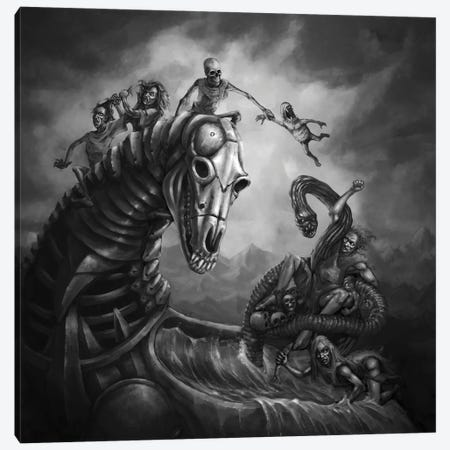 Goblin's Horse And Wild Ride To The Underworld Canvas Print #TRP17} by Tero Porthan Art Print