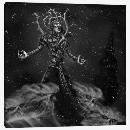 Louhi Great Witch With Frost Canvas Print #TRP26} by Tero Porthan Canvas Wall Art