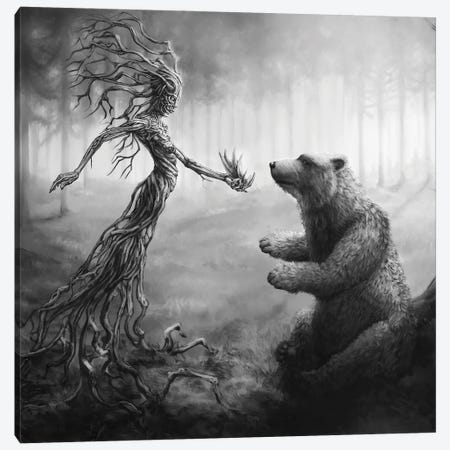 The Bear Gets Its Claws Canvas Print #TRP33} by Tero Porthan Canvas Art