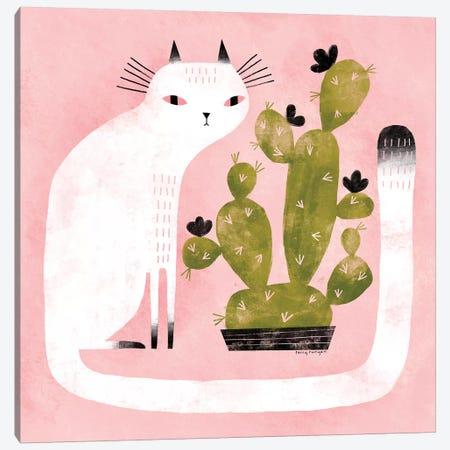 Cat - Cactus Canvas Print #TRU13} by Terry Runyan Canvas Print