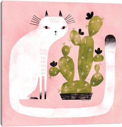 Cat - Cactus Canvas Art Print