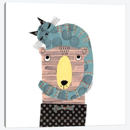 Cat On Bear Head Canvas Print #TRU18} by Terry Runyan Canvas Print