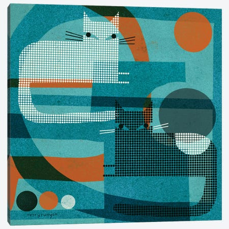Cats On Blue With Orange Canvas Print #TRU21} by Terry Runyan Canvas Artwork