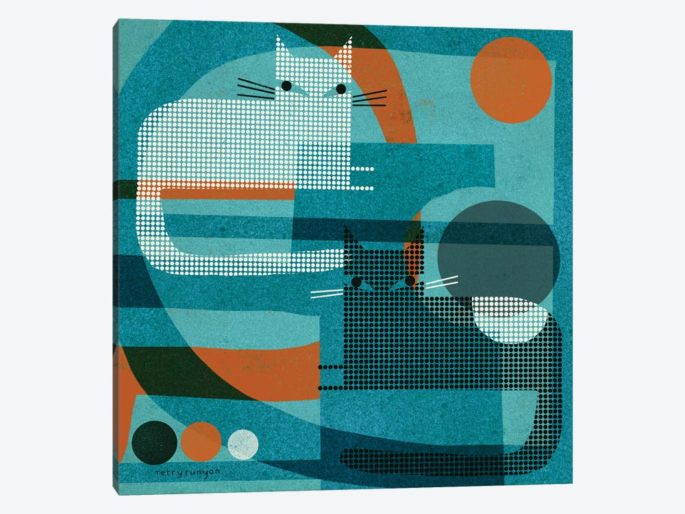 Cats On Blue With Orange by Terry Runyan 1-piece Canvas Art