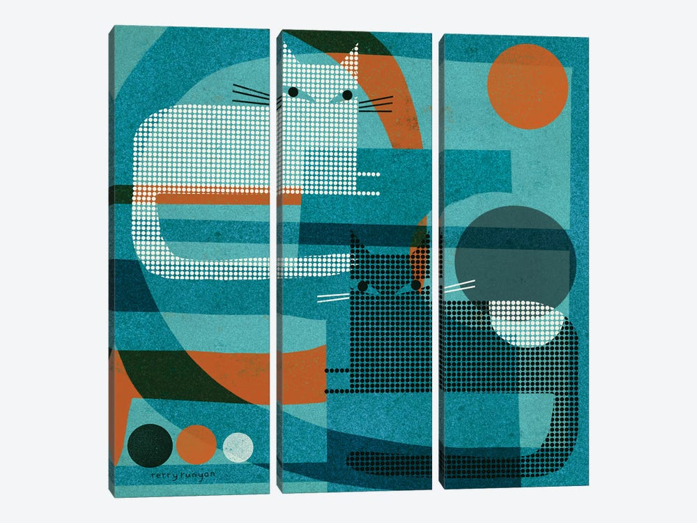 Cats On Blue With Orange by Terry Runyan 3-piece Canvas Art