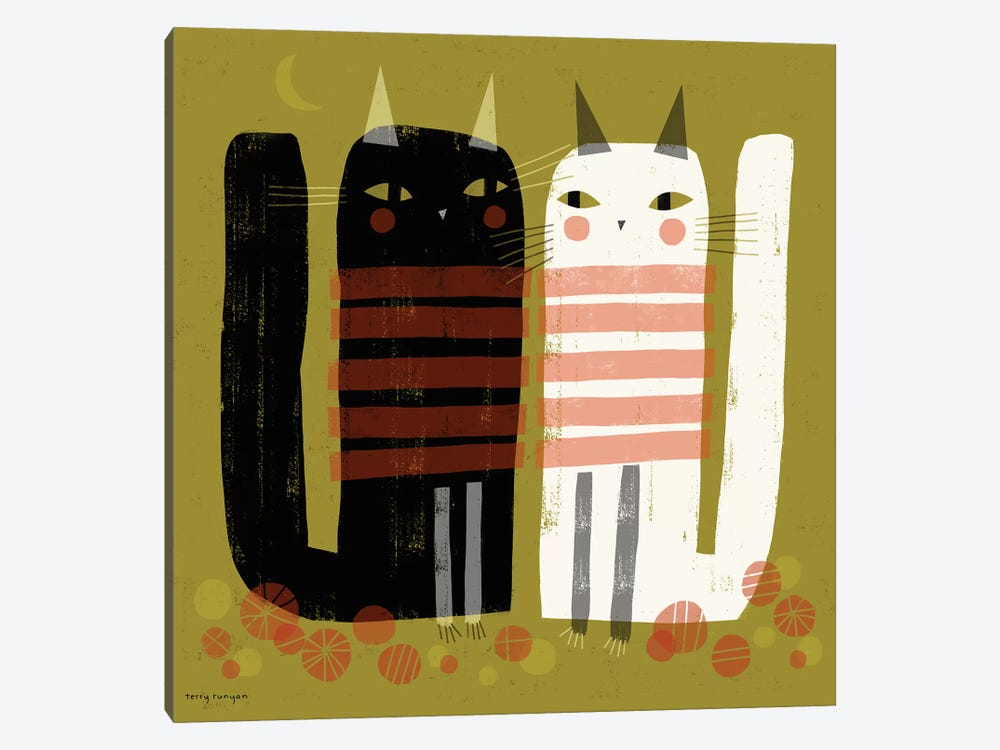 Cats On Green by Terry Runyan 1-piece Canvas Print