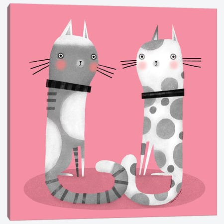 Cats On Pink Canvas Print #TRU23} by Terry Runyan Canvas Art