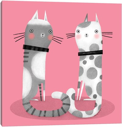 Cats On Pink Canvas Art Print