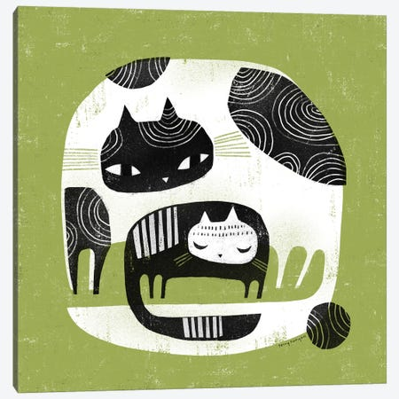 Cuddle Cats Canvas Print #TRU27} by Terry Runyan Canvas Art Print