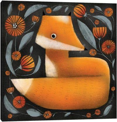 Fox And Flowers Canvas Art Print