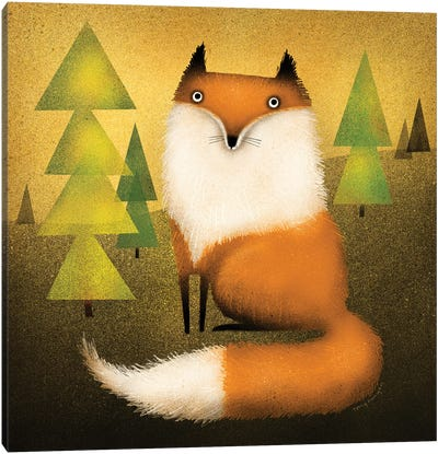 Fox In Woods Canvas Art Print