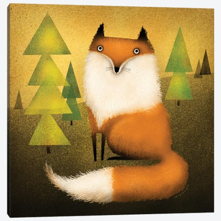 Fox In Woods Canvas Print #TRU37} by Terry Runyan Canvas Artwork