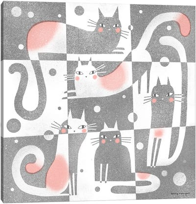 Gray - Pink Canvas Art Print