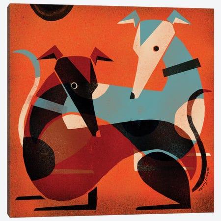Greyhound Pair Canvas Print #TRU42} by Terry Runyan Canvas Artwork