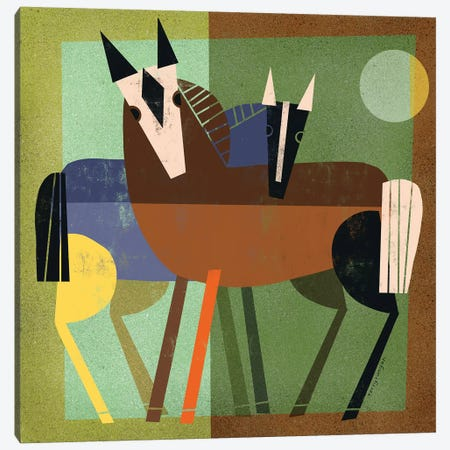 Horse Hug Canvas Print #TRU48} by Terry Runyan Canvas Wall Art