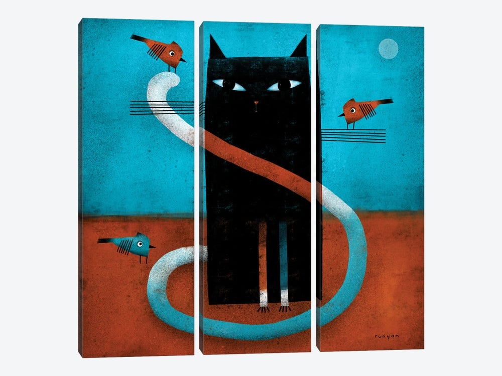Offset Whiskers by Terry Runyan 3-piece Canvas Art Print