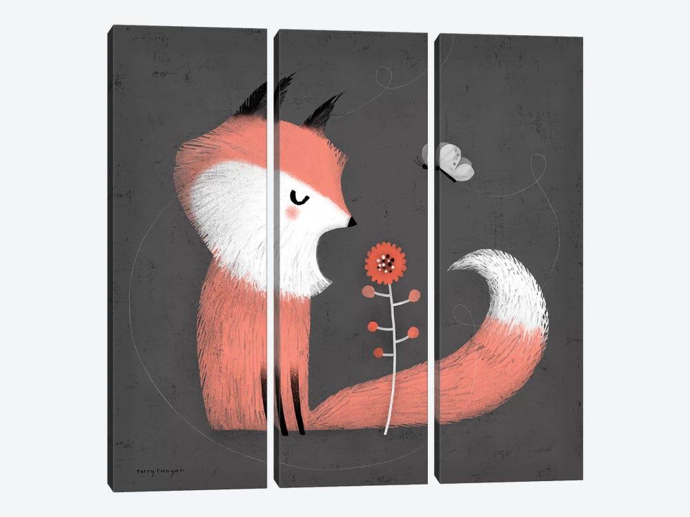 Pink Fox by Terry Runyan 3-piece Canvas Art Print