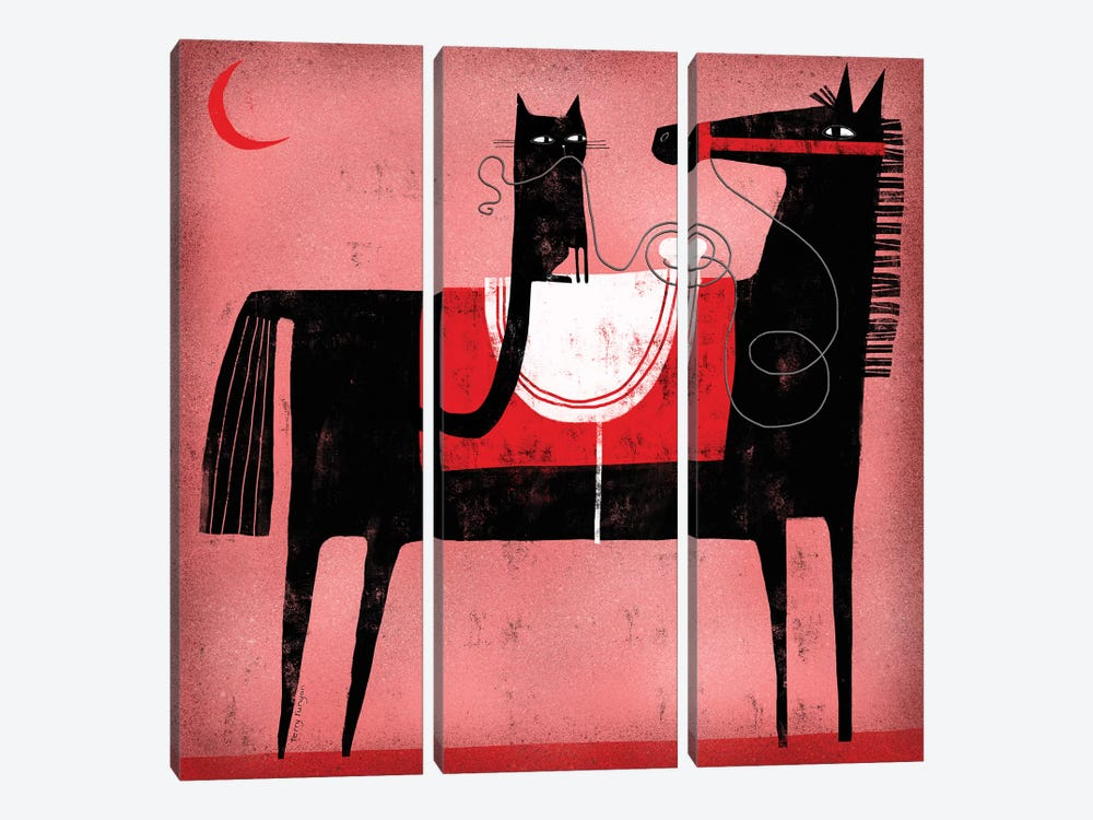 Red Moon by Terry Runyan 3-piece Canvas Art Print