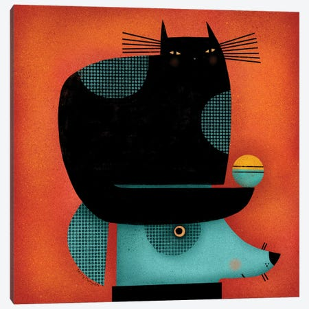 Black Cat On Head Canvas Print #TRU6} by Terry Runyan Canvas Wall Art