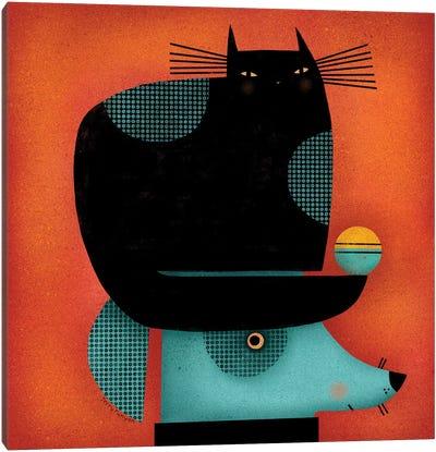 Black Cat On Head Canvas Art Print