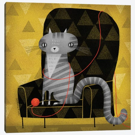 Seated Gray Tabby Canvas Print #TRU70} by Terry Runyan Art Print