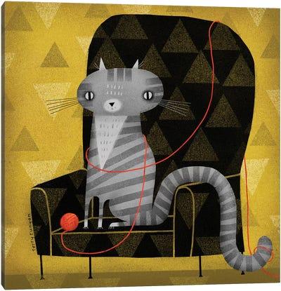 Seated Gray Tabby Canvas Art Print