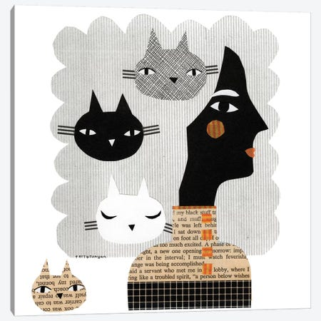 Stray Cat 3-Piece Canvas #TRU79} by Terry Runyan Canvas Art Print