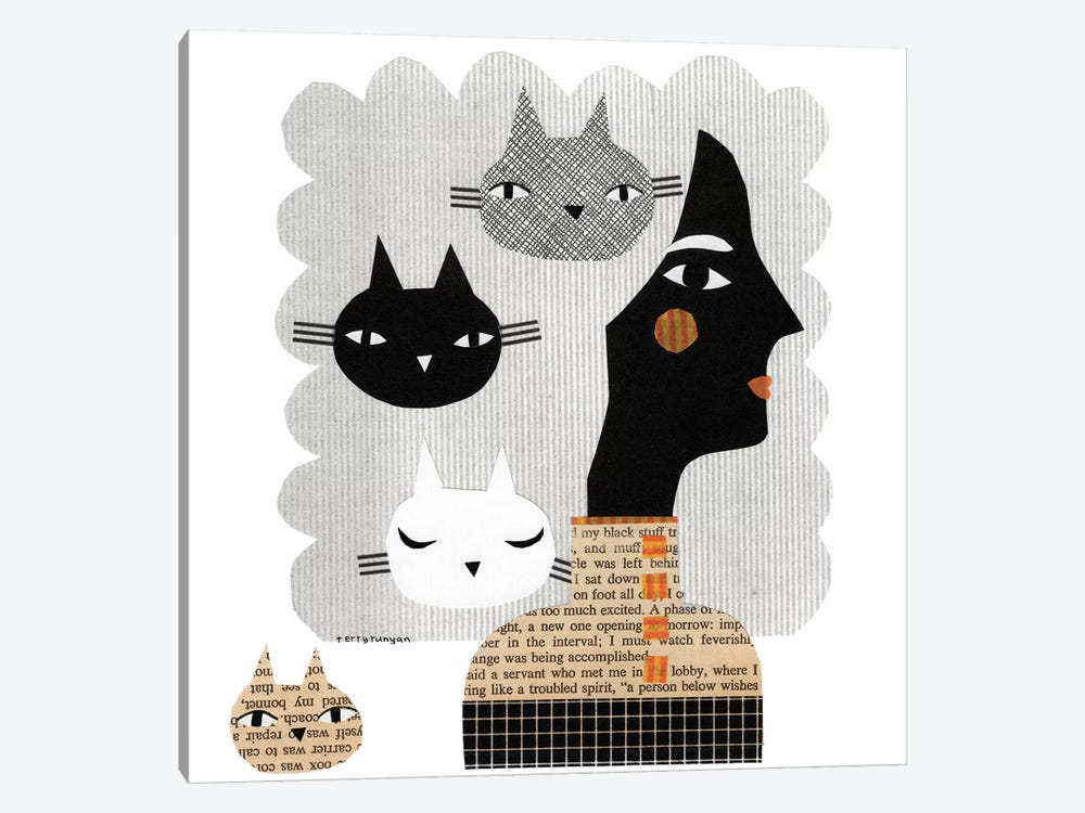 Stray Cat by Terry Runyan 1-piece Canvas Art Print
