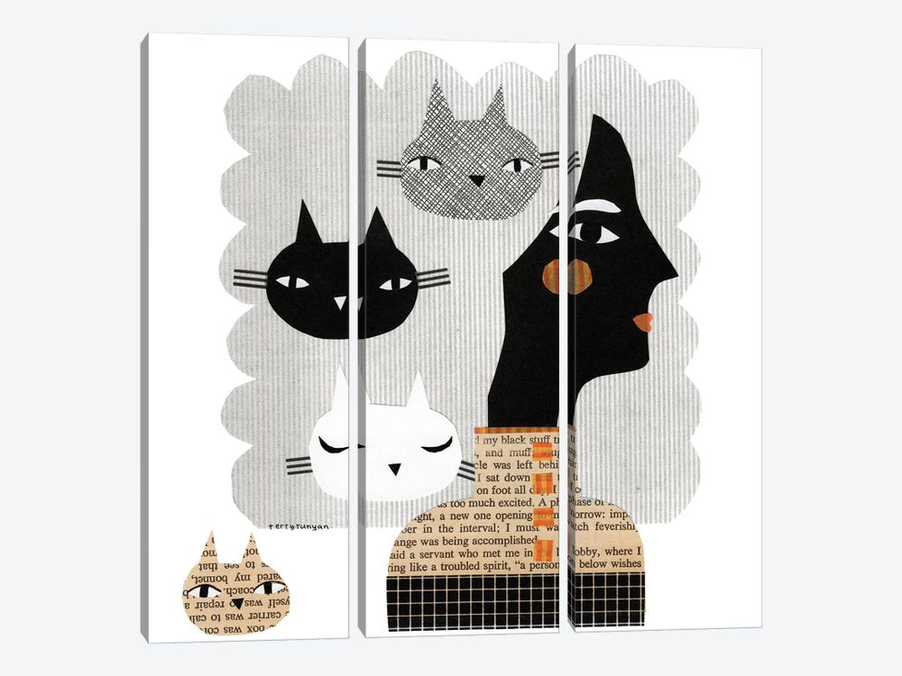 Stray Cat by Terry Runyan 3-piece Canvas Art Print