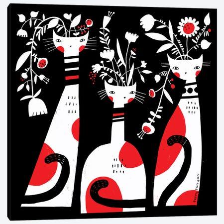 Vase Cats Canvas Print #TRU89} by Terry Runyan Canvas Art